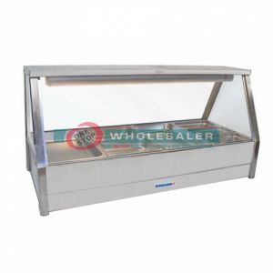 Roband E24RD Straight Glass Hot Food Display Bar, 8 pans double row with roller doors