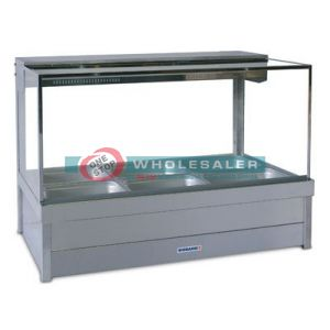 Roband S23RD Square Glass Hot Food Display Bar, 6 pans double row with roller doors