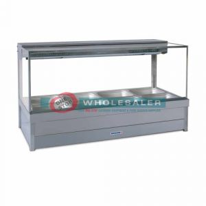 Roband S24RD Square Glass Hot Food Display Bar, 8 pans double row with roller doors